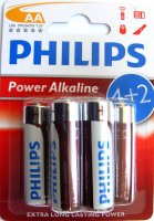 BAT-R6-PHI-BL6-ALK   Bateria LR6 Philips Power Alkaline; blister 4+2szt.